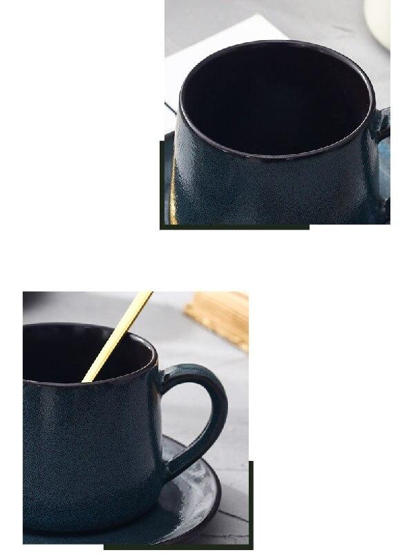 300ml Retro Art Ceramic Coffee Saucer Luxury Japanese Household Stoneware Latte Cup Minimalist Kitchen Breakfast Milk Mug Single