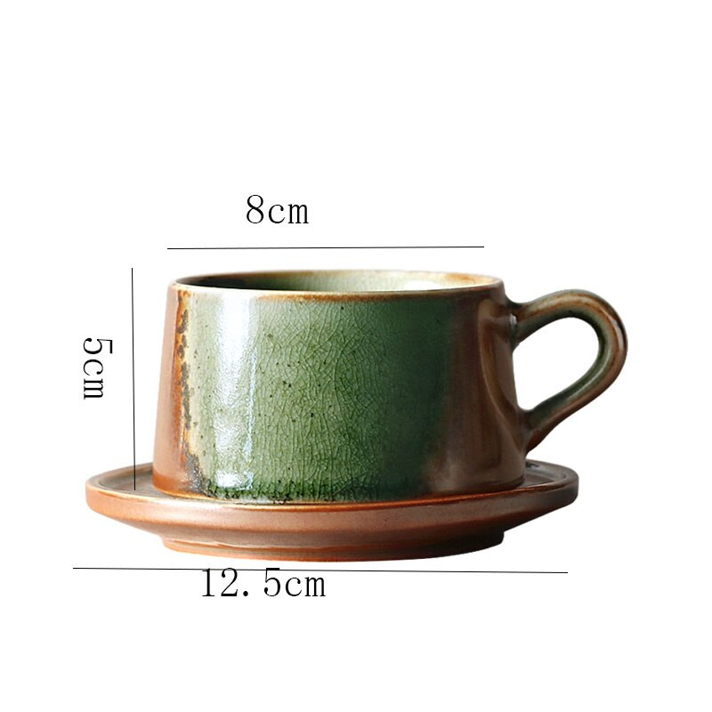 2pcs Japanese Retro Stoneware Coffee Cup with Saucer Kiln To Retro Latte Cup Simple Home Office Ceramic Round Breakfast Milk Mug