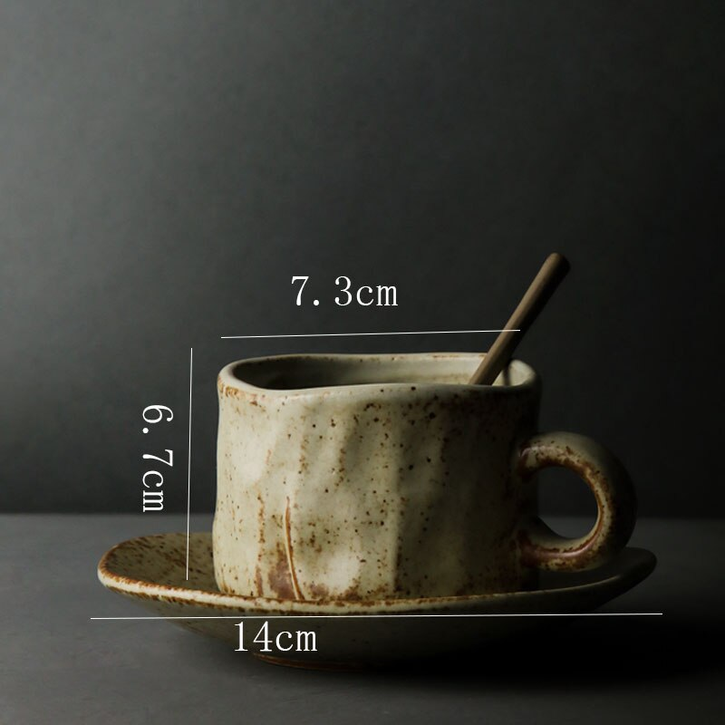 Japanese Style Art Retro Ceramic Coffee Cup and Saucer Home Office Afternoon Tea Tea Cup Commercial Stoneware Breakfast Milk Mug