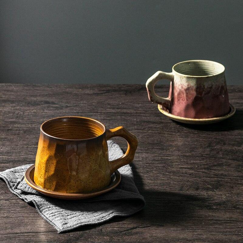 200ml Japanese Art Retro Ceramic Coffee Mug Retro Hand-cut Surface Stoneware Latte Cup Modern Home Afternoon Tea Coffee Cup Gift