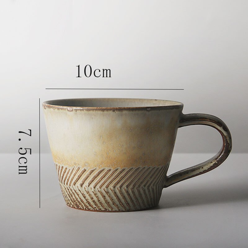 Japanese Retro Ceramic Coffee Cup Simple Stoneware Couple Mug Modern Home Office Afternoon Tea Tea Cup Breakfast Milk Mug Single