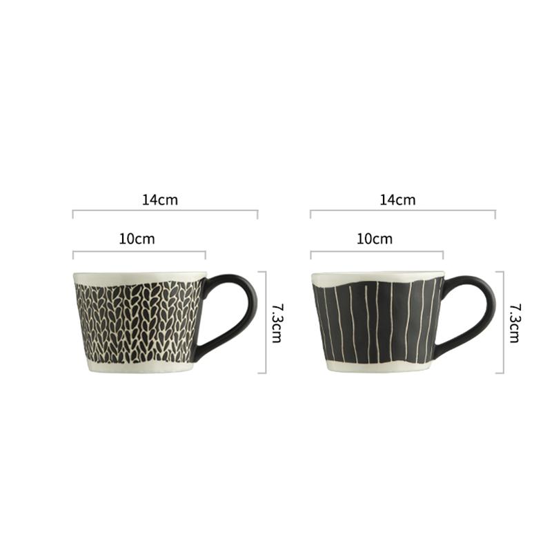 Japanese Style Retro Ceramic Coffee Cup Simple Black Stripe Breakfast Milk Mug Modern Home Afternoon Flower Tea Cup 300ml Single