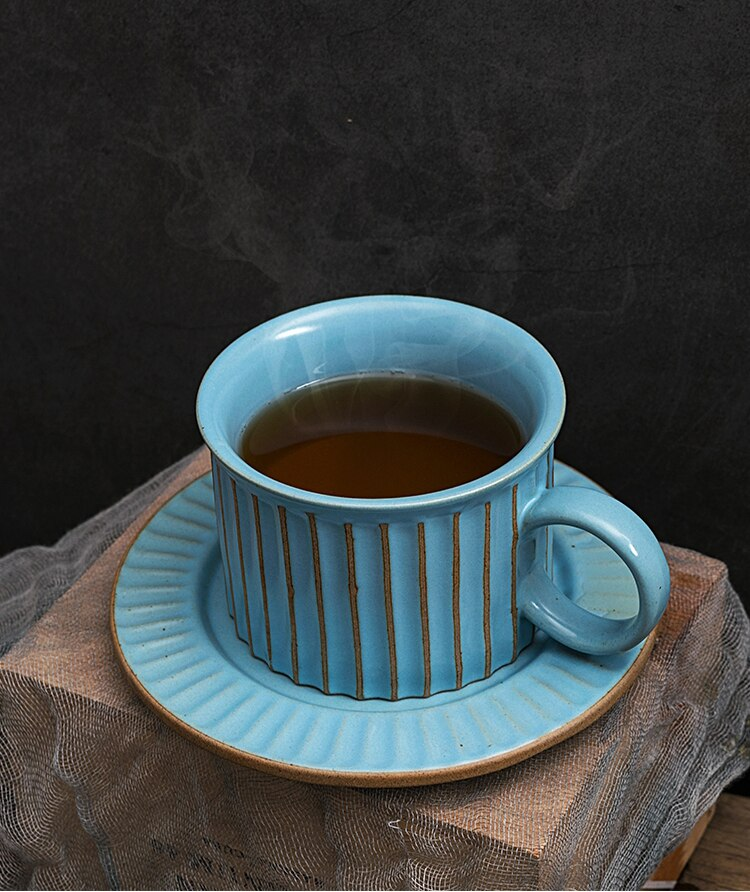 Retro Stoneware Coffee Mug and Saucer Japanese Art Retro Vertical Pattern Latte Cup Minimalist Office Cafe Afternoon Tea Tea Cup