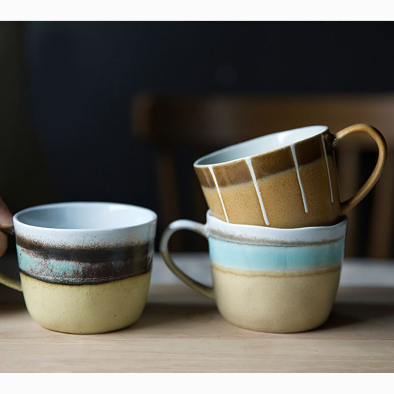 200ml Japanese Retro Ceramic Coffee Mug Modern Household Striped Retro Latte Cup Simple Home Office Afternoon Tea Tea Cup Single