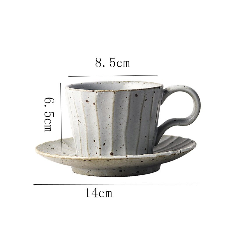 220ml Stoneware Mug Japanese Art Ceramic Retro Vertical Stripes Coffee Cup with Saucer Simple Home Office Afternoon Tea Tea Cup