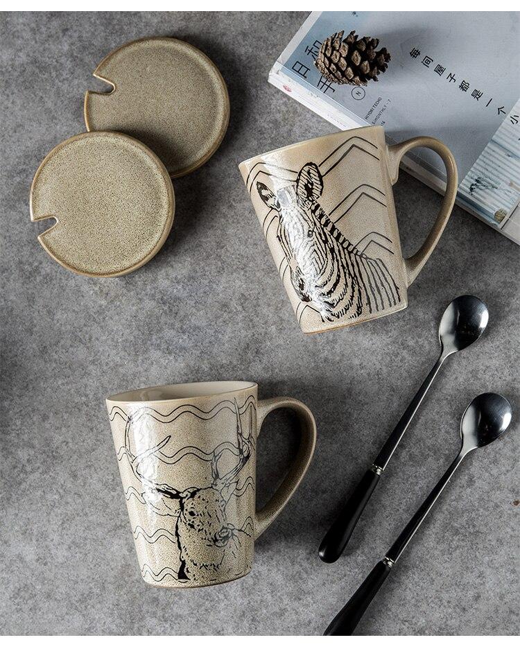 American Animal Retro Ceramic Coffee Mug with Lid Spoon Modern Minimalist Home Afternoon Tea Tea Set Milk Cup Set Men's Cup Gift