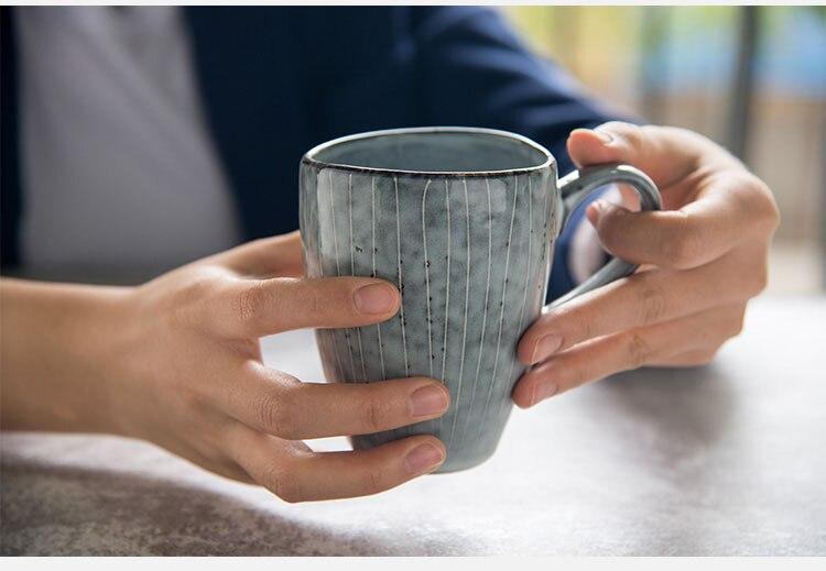 European Art Retro Ceramic Coffee Cup Without Handle Japanese Couple Mug Minimalist Home Office Breakfast Milk Mug 250ml Single