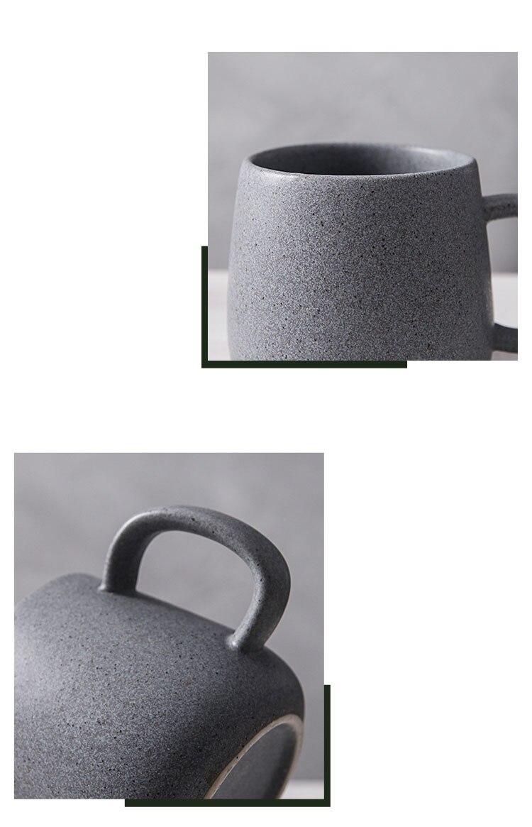 Japanese Style Art Retro Ceramic Pot-bellied Coffee Cup Household Large Capacity Breakfast Milk Mug 410ml Afternoon Tea Tea Cup