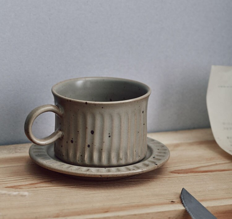 European Art Ceramic Coffee Cup with Saucer Japanese Retro Stoneware Coffee Shop Latte Cup 200ML Simple Home Breakfast Drink Cup