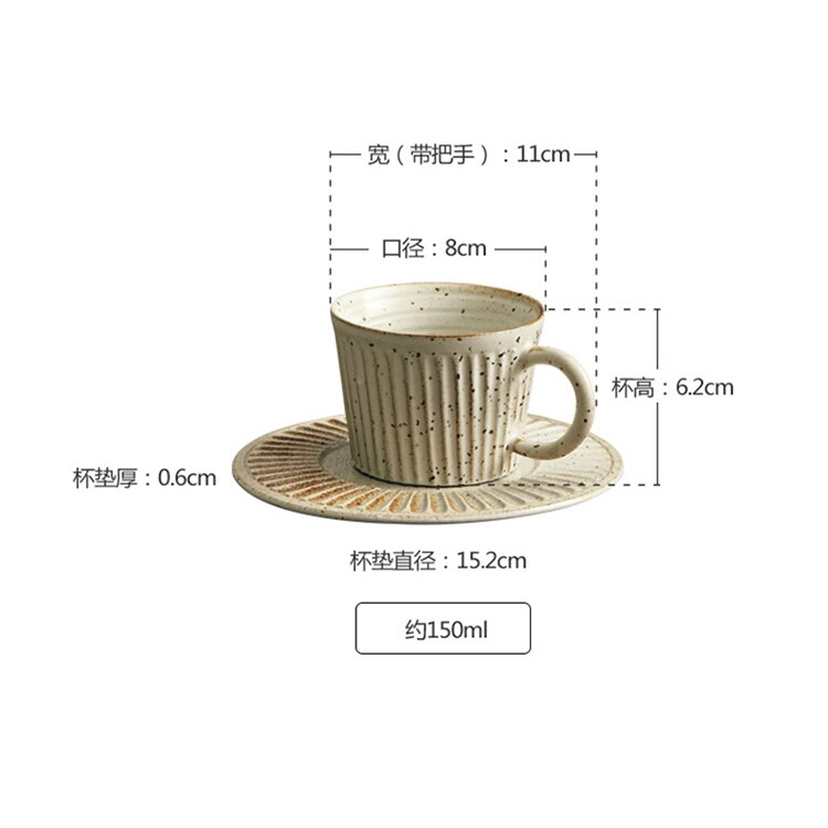 150ml Japanese Striped Ceramic Coffee Cup with Saucer Simple Home Office Afternoon Tea Tea Set Modern Retro Stoneware Coffee Mug