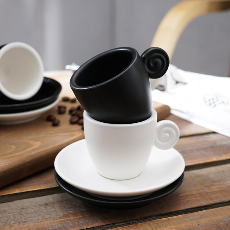 90ml Simple Black and White Frosted Concentrated Coffee Cup Saucer Set Simple Home Afternoon Tea Flower Cup Couple Milk Mug Gift