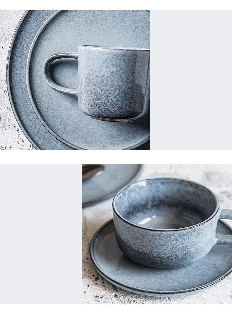 Japanese Style Retro Ceramic Coffee Cup Large Capacity Ceramic Breakfast Milk Mug Modern Home Office Afternoon Tea Tea Cup 230ml