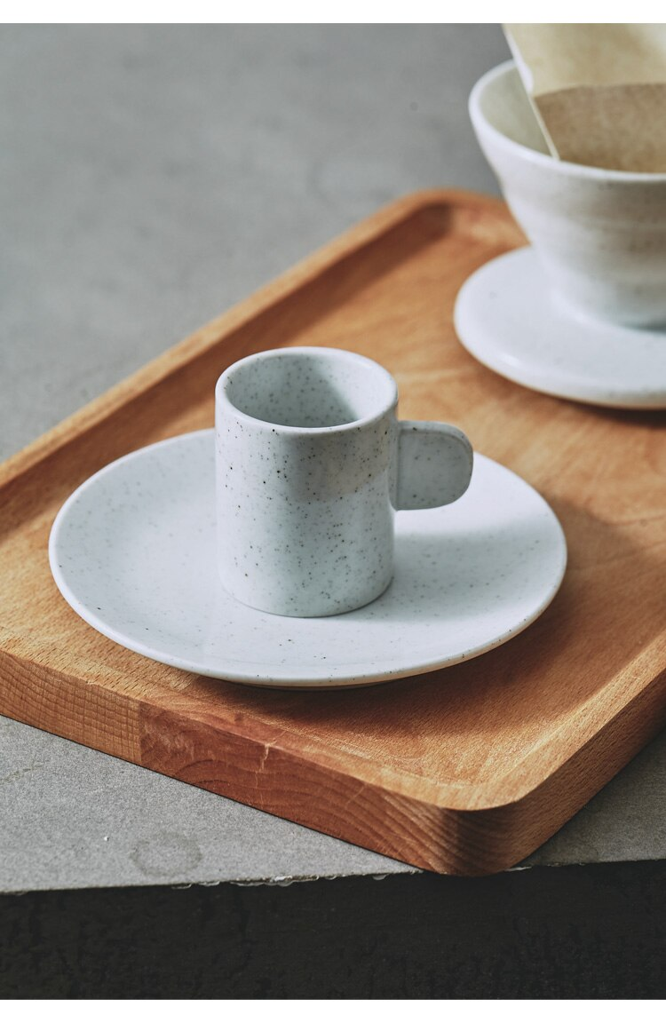 450ml Japanese Art Retro Ceramic Coffee Cup and Saucer Set Minimalist Home Hand-made Coffee Pot Stoneware Concentrated Latte Cup
