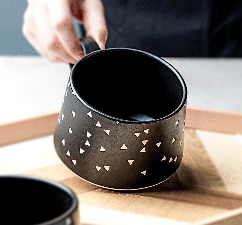 500ml Retro Ceramic Black Coffee Mug Japanese Style Large Breakfast Cereal Dessert Cup Office Style Afternoon Tea Flower Tea Cup