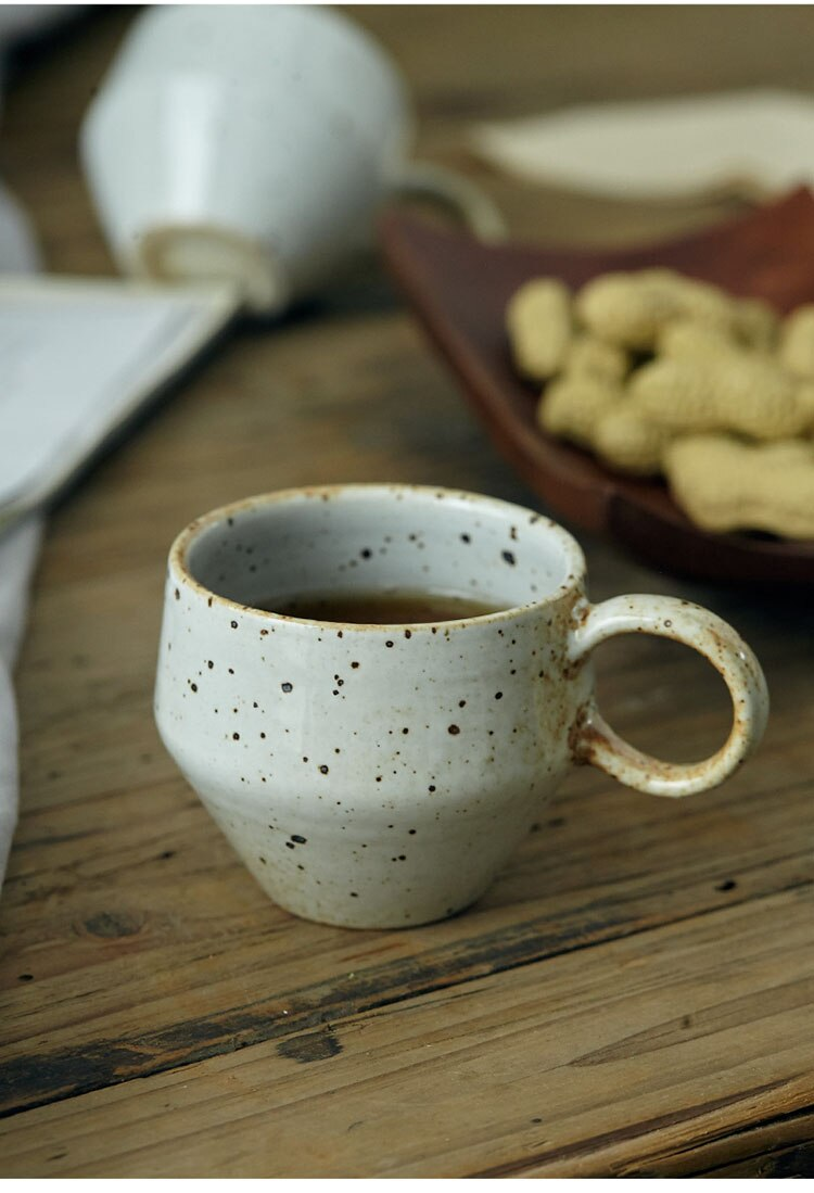 150ml Japanese  Retro Ceramic Coffee Mug Small Concentrated Breakfast Milk Cup  Home Office Afternoon Tea Tea Set Cafe Utensils
