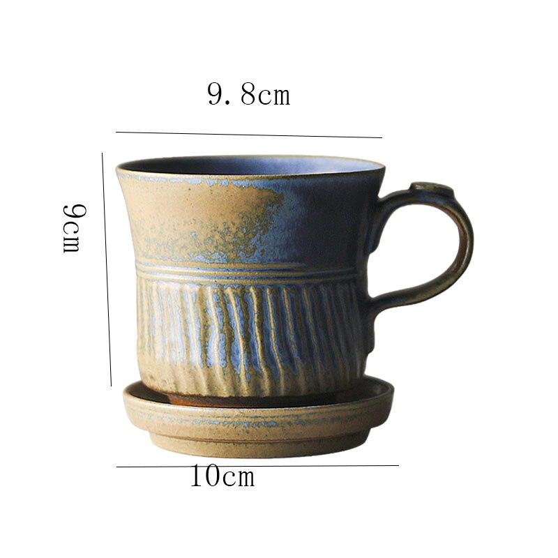 380ml Japanese B Retro Ceramic Coffee Cup and Saucer Office Stoneware Single Tea Mug Modern Home Kiln Change Breakfast Milk Cup