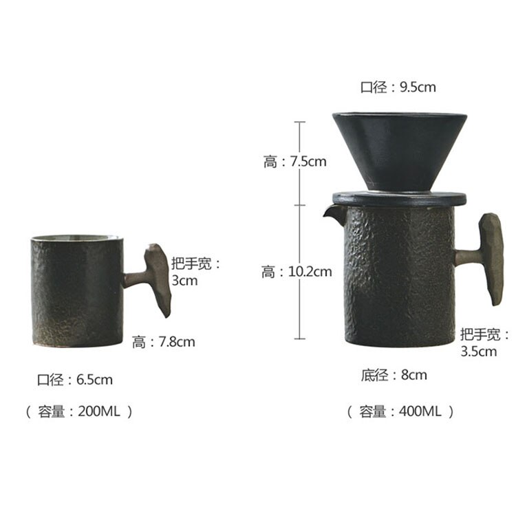 400ml Japanese Art Retro Ceramic Hand-made Coffee Pot Set  Minimalist Home Retro Stoneware Coffee Cup Filter Cup Three-piece Set