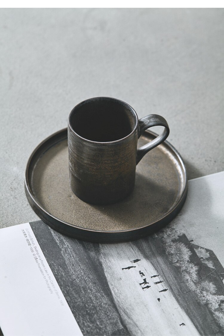 3pcs Japanese Retro Hand-made Coffee Cup Saucer Hanging Ear Pot Set Minimalist Home Retro Stoneware Filter Cup Sharing Pot 400ml