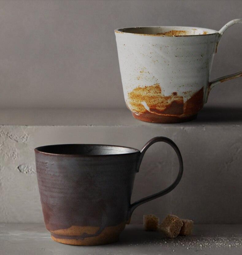Japanese Retro Ceramic Coffee Cup Simple Household Stoneware Afternoon Tea Breakfast Dessert Mug Modern Couple Garland Latte Cup
