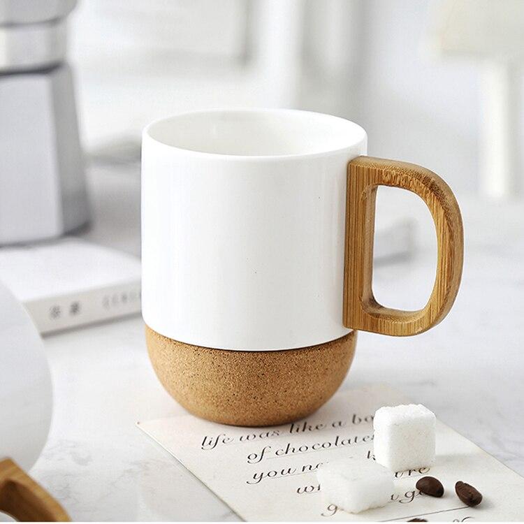 300ml European Art Bone China Tea Cup with Wooden Handle Simple Home Office Cork Coffee Mug American Ceramic Couple Cup Watercup