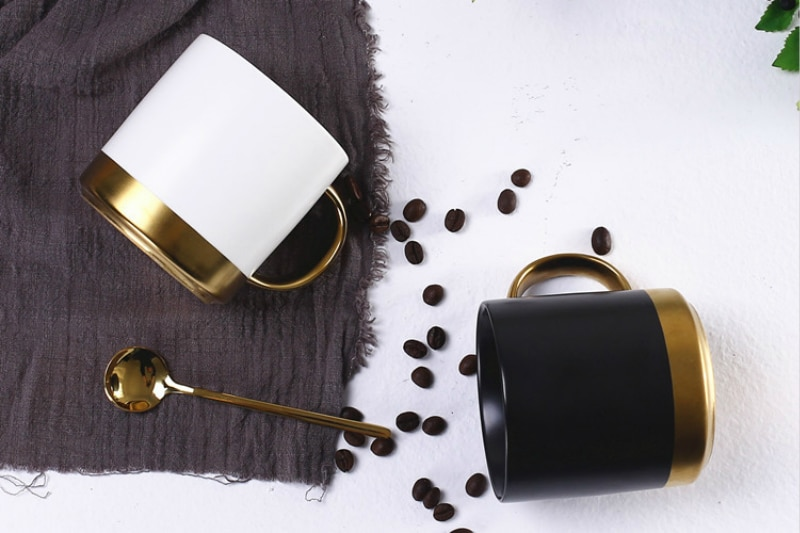 Nordic black ceramic coffee mug for Hot and Cold Drinks pretty couple breakfast cup office business gift for friend