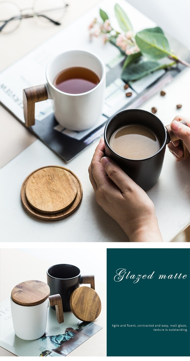 Log Handle Mug High-end Light Luxury Gift Box Set Couple Cups Office Coffee Milk Cup Ceramic Cup Drinking Utensils Creative Gift