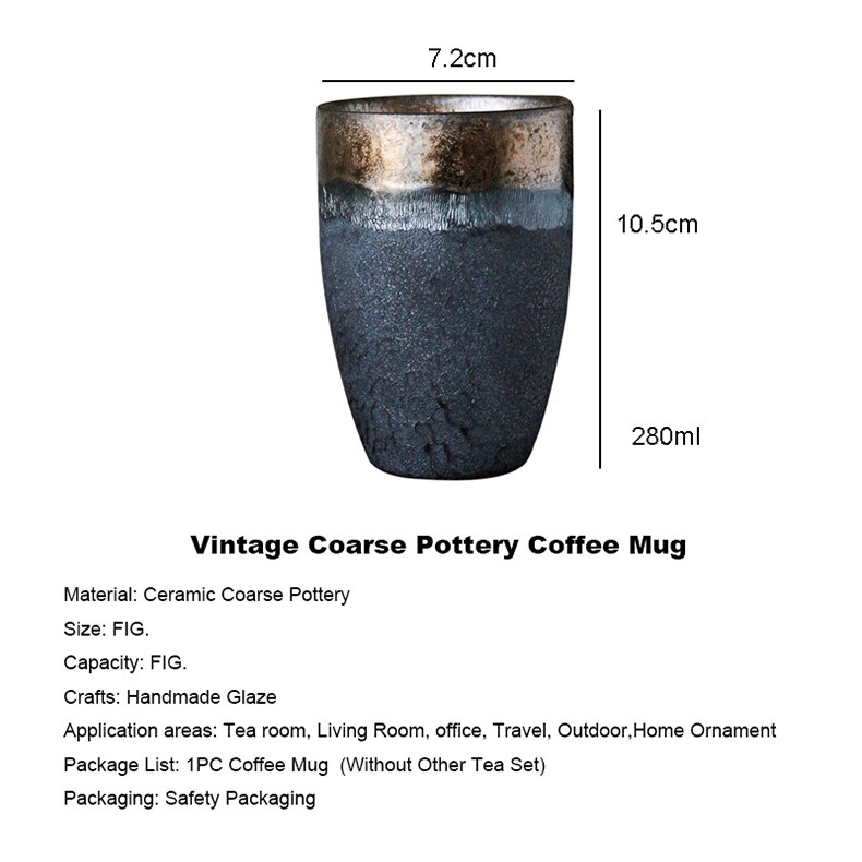 280ml Japanese Style Lover's Coarse Pottery Coffee Mug Teacup Jingdezhen Ceramic Master Tea Cup Creative Vintage Home Decoration