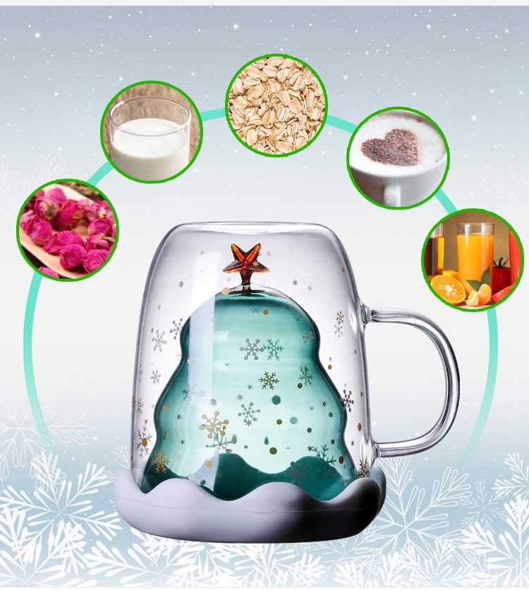 300ML Double Layered Anti Scald Glass Christmas Tree Starry Sky Coffee Mug Thermal Insulation Breakfast Milk Cup Children's Gift