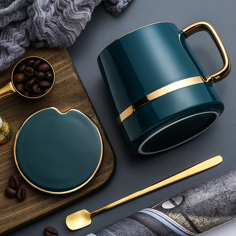 Nordic Style Light Luxury Coffee Mug Set Ceramic Coffee Cup&Saucer European Style Home Kitchen Accessories Drinkware