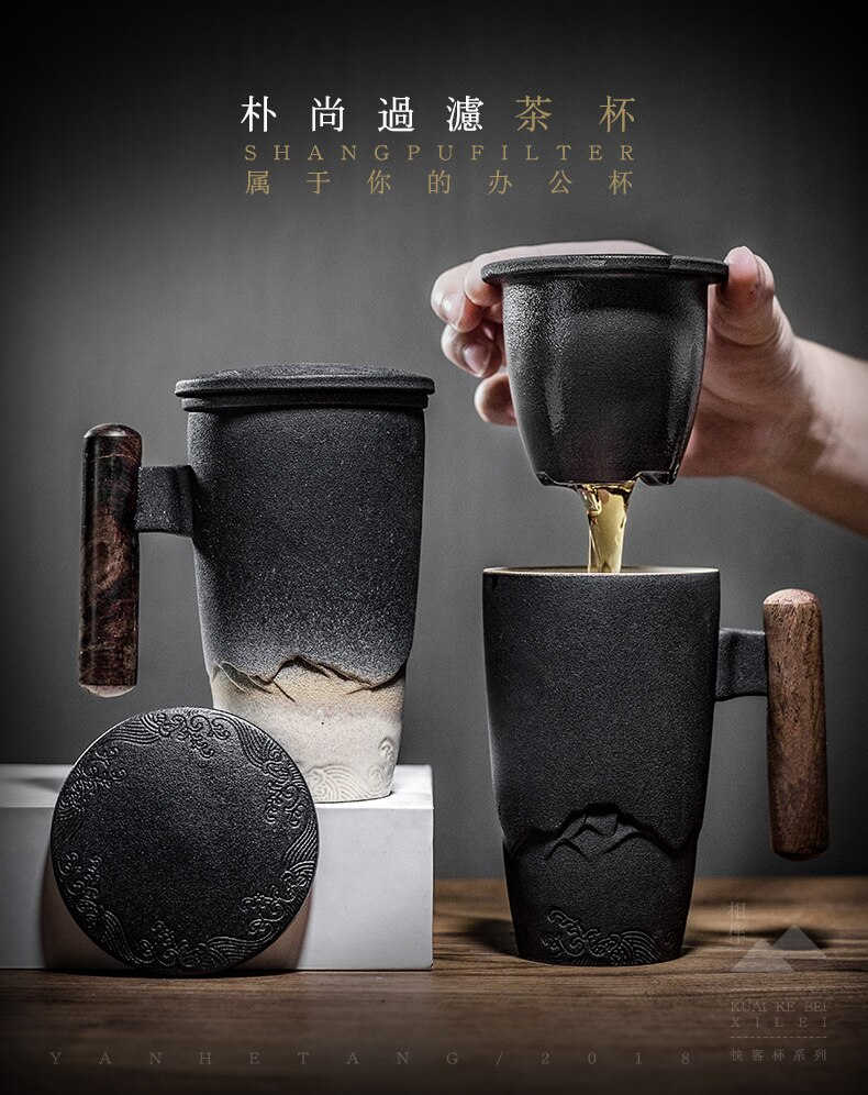 Luxury Retro Tea Cup Ceramic Mug Large Capacity Office Filter Black Water Cup with Cover Mugs Wooden Handle Cups Gift Ideas Box