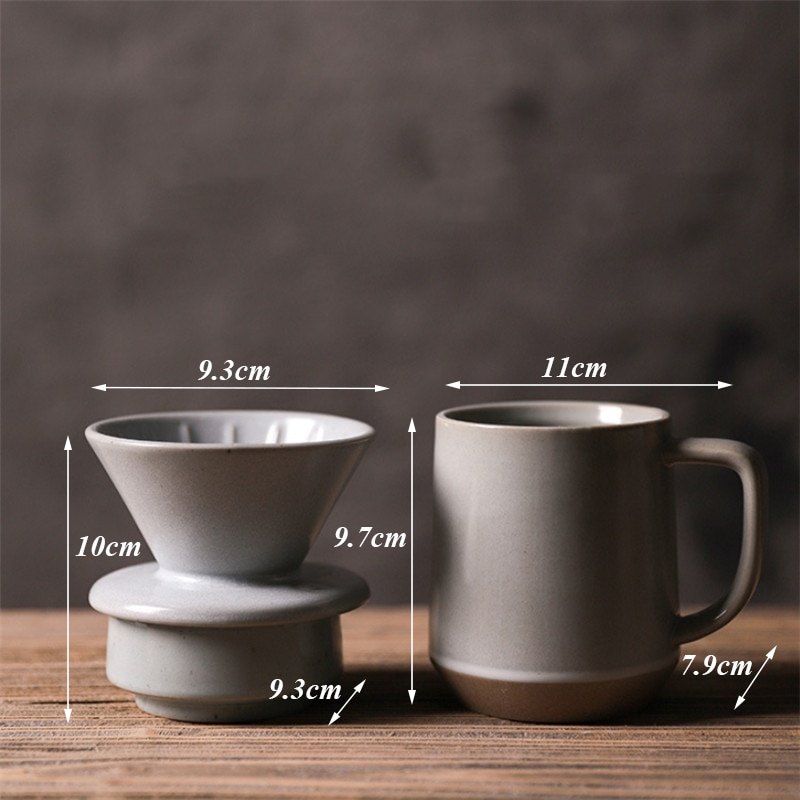 Nordic Hand-washed Coffee Filter Cup Ceramic Drip-type Coffee Cup Tapered Single-hole Milk Mug Ceramic Simple Tea Cup Drinkware