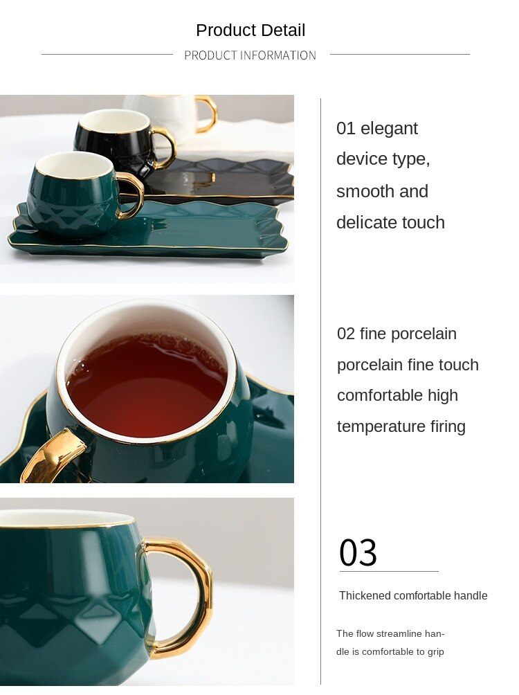 Modern European leisure and entertainment ceramic cup creative gift ceramic mug with spoon three-piece coffee cup and saucer set
