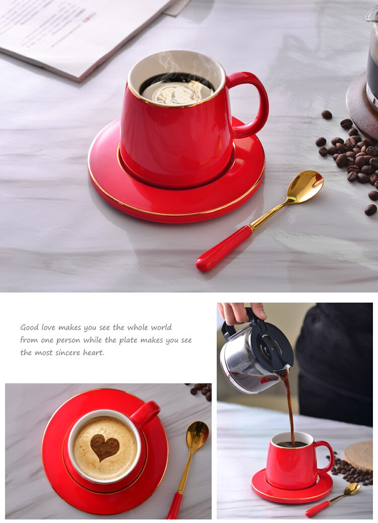 Big red European high-end coffee cup set creative with a mug ceramic cup cups couples gift box