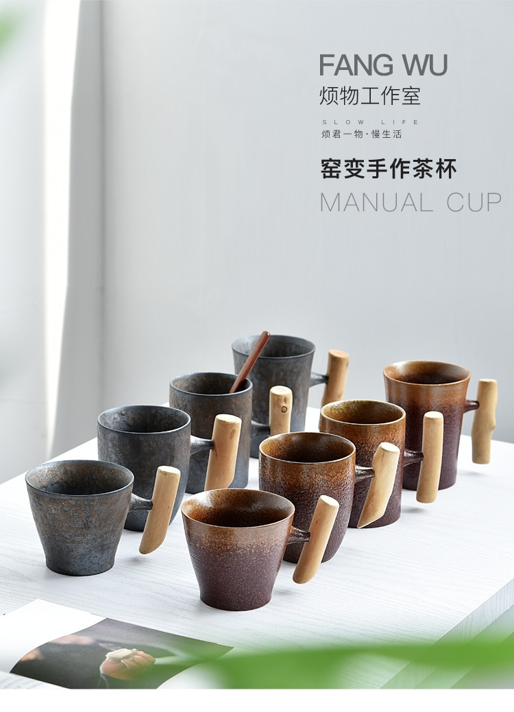 Creative retro wooden handle mug with spoon household ceramic tea cup handmade stoneware office coffee cup Japanese style