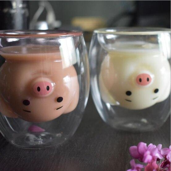Creative Cute Bear Double-layer Coffee Mug DoubleGlass Cartoon Baby Duckling Animal Milk Glass Lady Cute Gift Cup Christmas gift