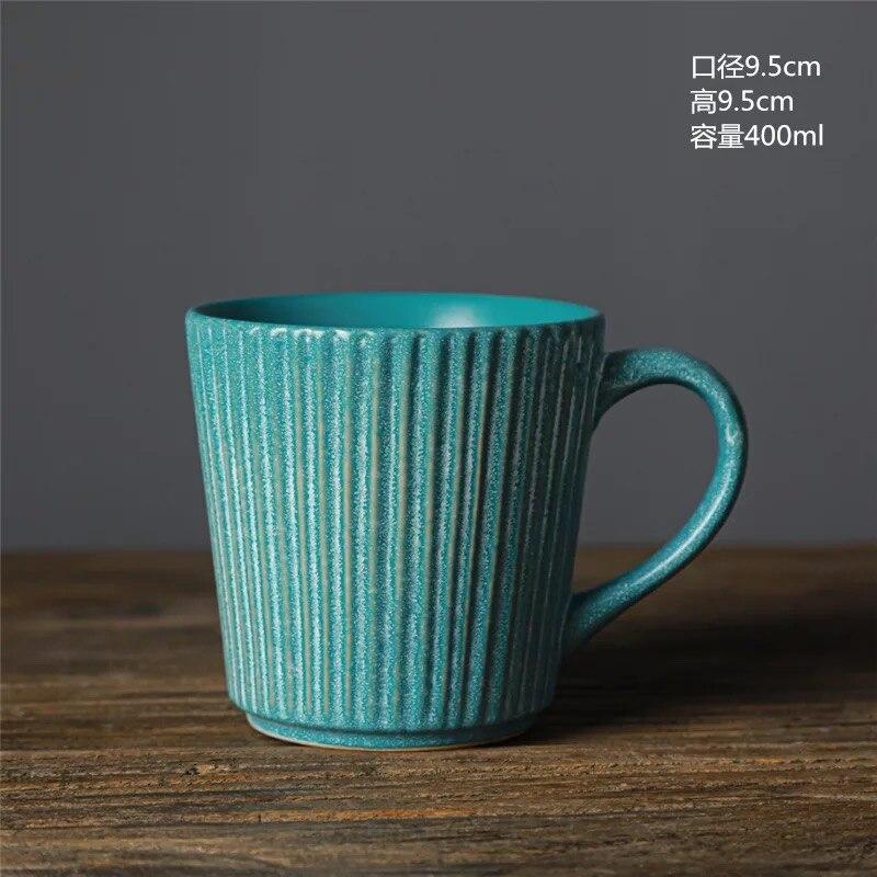 400ml Retro Threaded Mug Japanese Ceramic Kiln Glazed Coffee Cup Nostalgic Style Stoneware Mug Milk Cup