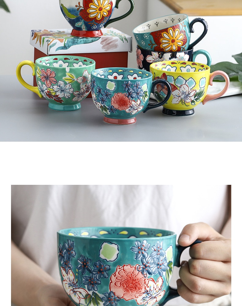 Ceramic Hand Painted Breakfast Milk Oats Cup Coffee Cups Kitchen Tableware Chinese Porcelain 450ml Water Mugs Large Capacity Mug
