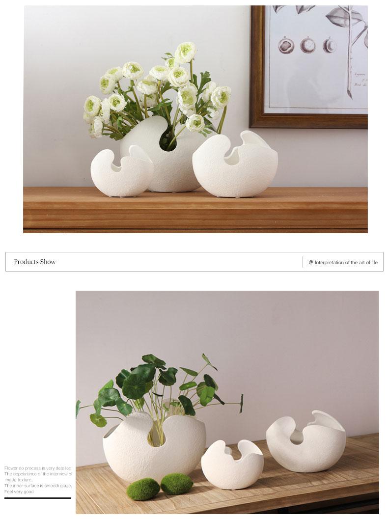 Creative Imitation eggshell coarse Ceramic vase handmade ceramic vases flower ornaments hydroponics home decoration