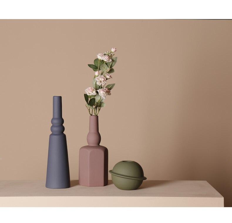 Morandi Color Ceramic Vase Vases for Flowers Pot Flower Basket Flower Vase Decoration Home Nordic Decor Dried Flower Container