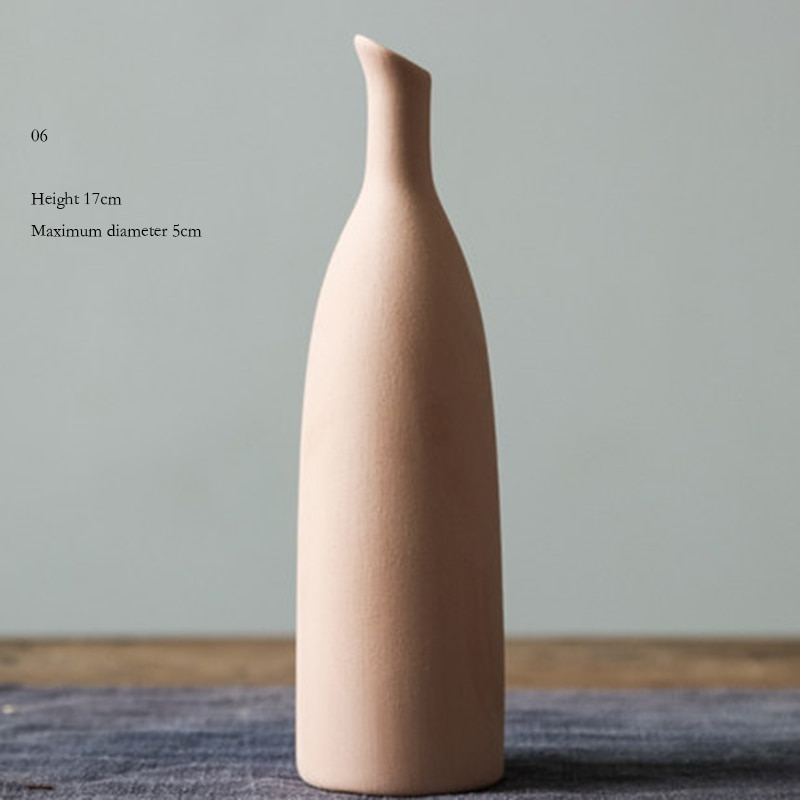 Minimalist Nordic Home Decoration Plain Vase Ceramic Art Chinese Vases Ancient For Flowers Rustic Elegant Simple Porcelain
