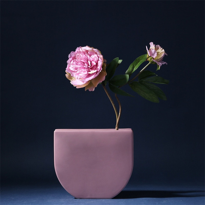 Nordic Ceramic Geometric Flower Vase Colorful Dried Flowers Vase Creative Office Table Ornaments Home Wedding Decoration Crafts