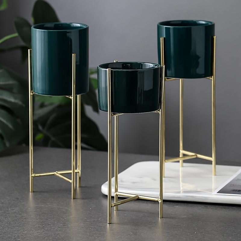 Nordic Minimalism Vase Iron Display Rack with Ceramic Flower Pot Landscape Shelf Tabletop Plant Pot Vase for Wedding Decoration