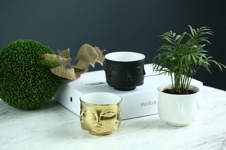 Man Face flower vase home decoration accessories modern ceramic vase for Flowers Pot planters
