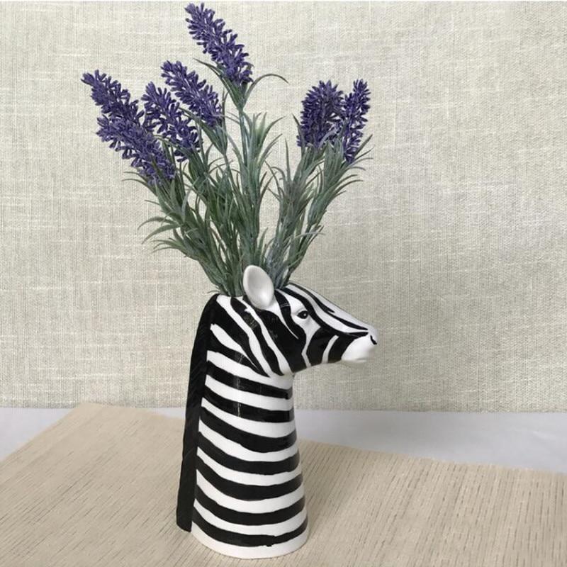 Nordic Zebra Trojan Horse Head Vase Creative Ceramics Flower Insert Art Vase Home Decorative Animal Head Shape Vase R2412