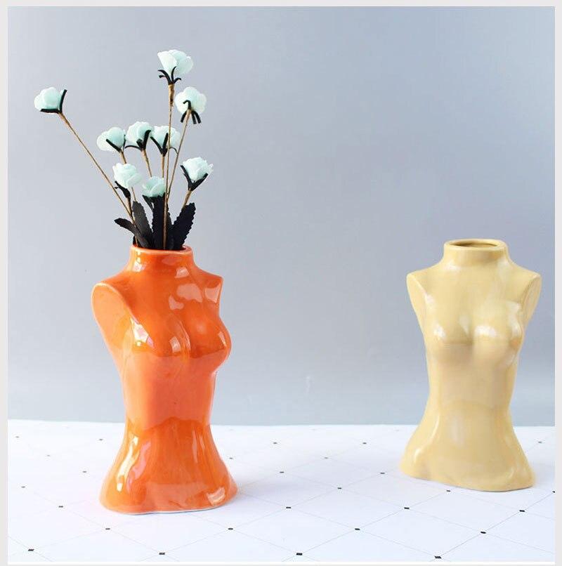 Ceramics Body Art Design Flower Vase Nude Female Sculpture Flower Vase Creative Hobby Vase Planting Machine Home Accessories
