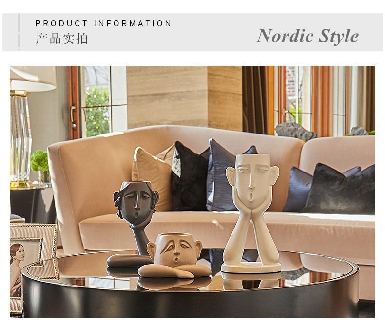 GAOBEI Nordic Minimalist Ceramic Abstract Vase Black  White Human Face Creative Display Room  Figue Head Shape Decorative Vases