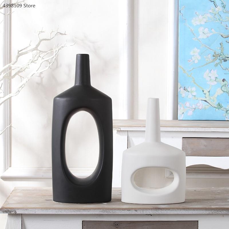 Black and white ceramic vase decoration Nordic home decoration for dried flower vase modern minimalist living room desktop vase