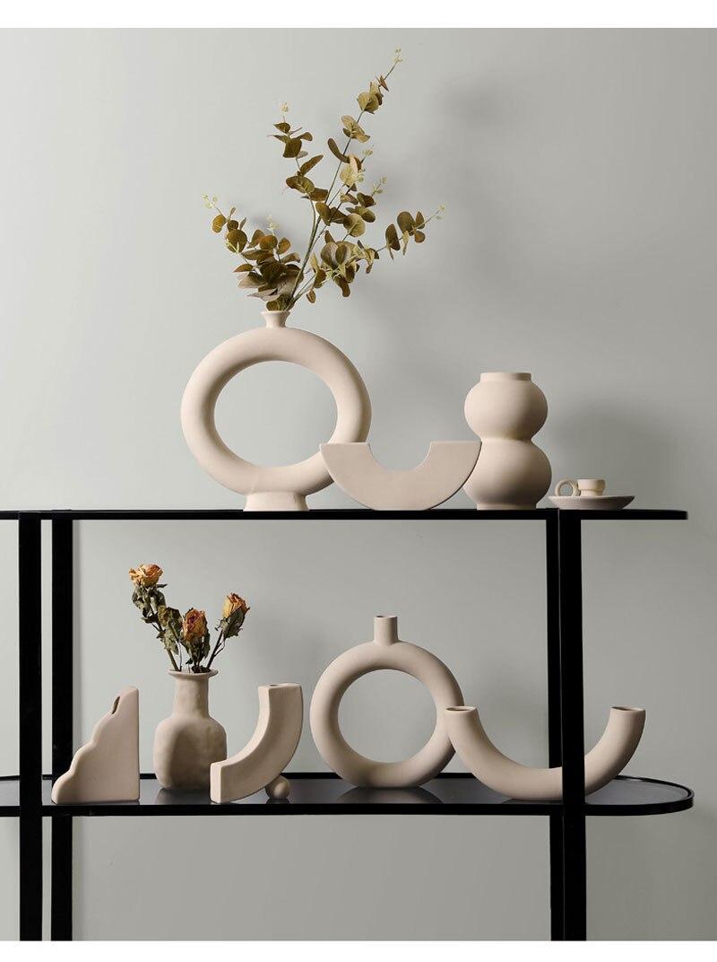 Nordic minimalist ceramic vase ornaments dried flower flower arrangement creative art living room TV cabinet desktop decoration