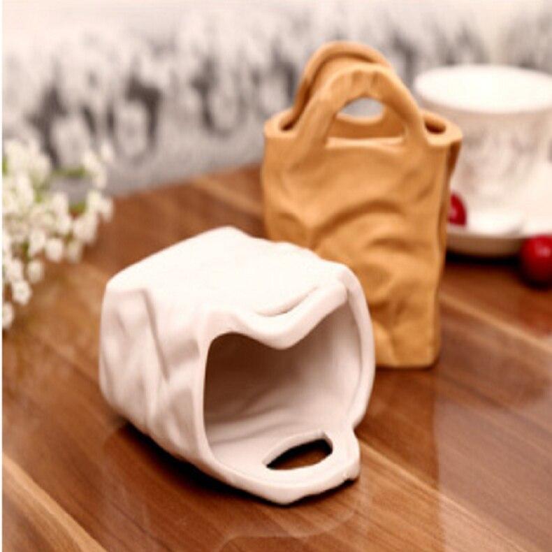 European Ceramic Vase Portable Paper Bag Shape Potted Plant Vases Hydroponic Flower Arrangement Flowerpot Ornaments Home Decor