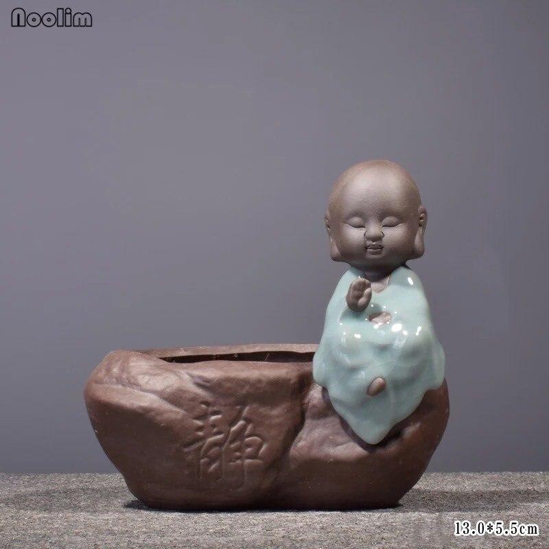 NOOLIM Creative Monk Zen Purple Clay Hydroponic Succulents Flower Pot Ceramic Vase Small Ornaments Living Room Decor Crafts